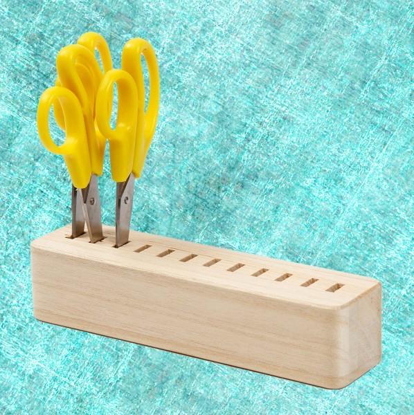 Scherenständer aus Holz mit 12 Löcher, Länge 17 cm, Breite 4,3 cm