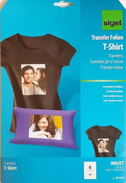T-Shirt Transfer Papier Inkjet, für dunkle und schwarze Stoffe, 6 Bögen A4