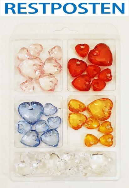 Acryl-Herzen 39 Stück in 5 Farben sortiert