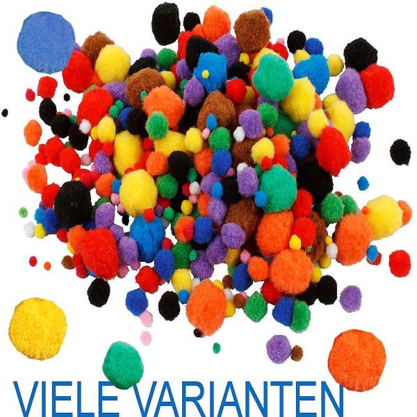 Pompons in verschiedenen Varianten und Farben