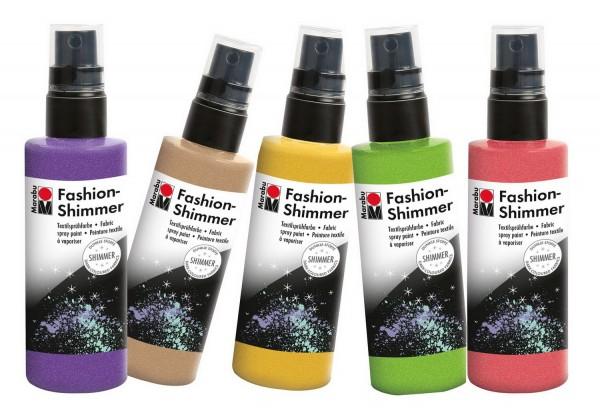 Textilsprühfarbe Fashion-Schimmer SET von Marabu mit allen 11 Farben je 100 ml