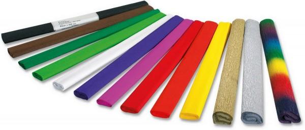 Krepp-Papier SET, 18 Farben (Standardfarben) zu je 10 Rollen