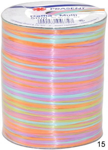 Bast Raffia Multicolour 50 m Spule, Preis pro Stück