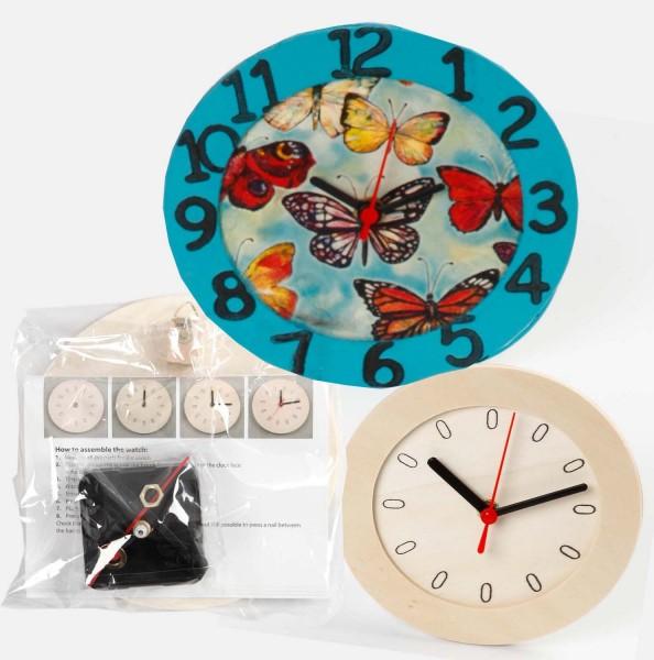 Uhr mit Holzrahmen, Sperrholz, Durchmesser 15 cm (Lieferumfang ohne Batterie)