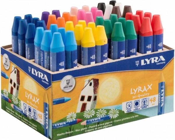 Wachs-Riesen von Lyra in der Holzbox, 48 Stück in 12 Farben