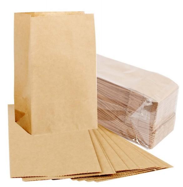 Papiersackerl mit verstärktem Boden, 50 g, 15 x 9 x 27 cm, 100 Stück in Braun