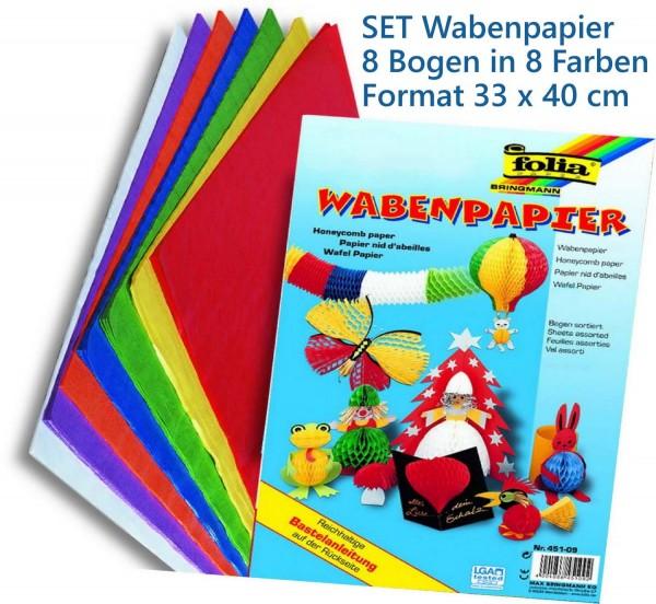 Wabenpapier SET, Format 33 x 40 cm, 8 Bogen in 8 Farben