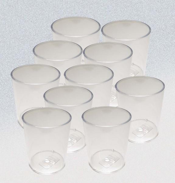 Kunststoffköcher / Kunststoffbecher transparent, Packung 10 Stück