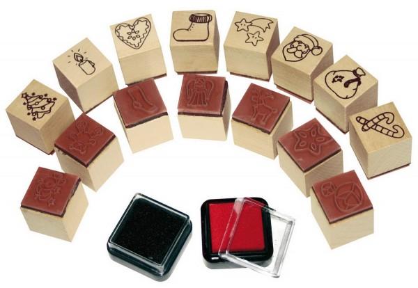 Ministempel Weihnachten, 15 Stempel und 2 Stempelkissen