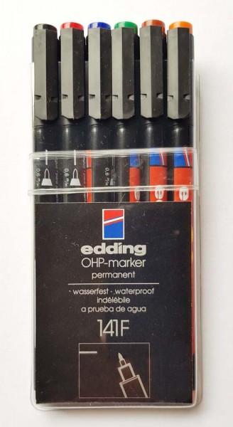 OHP-Marker permanent von Edding, Etui mit 6 Stifte in 6 Farben