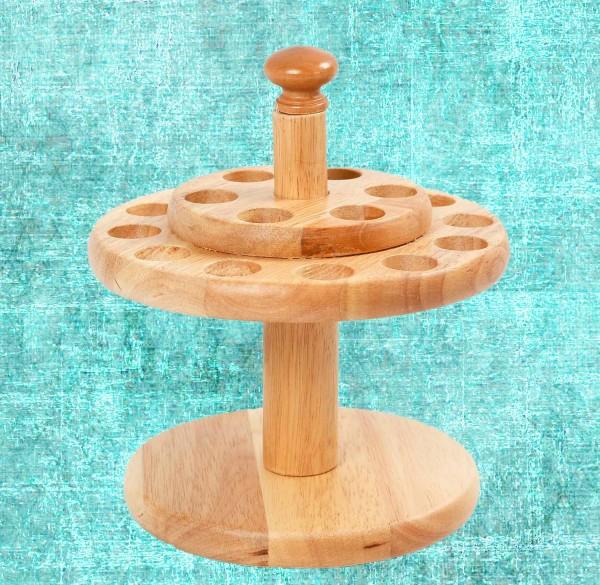 Scherenständer rund, aus Holz mit 18 Löcher, Höhe 13 cm, Durchmesser 19 cm