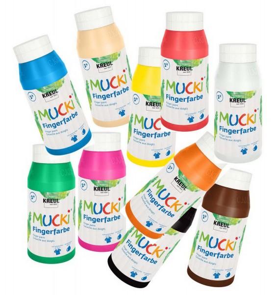 Mucki Fingerfarbe SET von Kreul, 10 x 750 ml in 10 Farben