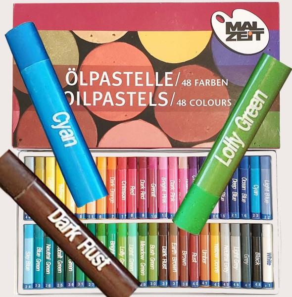Öl-Pastellkreide, 11 mm x 7 cm, 48 Stück in 48 Farben