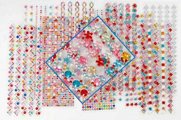 Schmucksteine selbstklebend, diverse Motive, Durchmesser 2-10 mm, 12 Bögen Format 27 x 9 cm