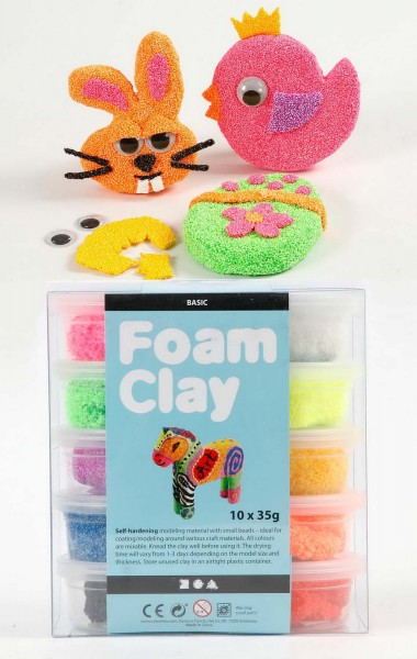 Foam Clay Knetmasse, 10 x 35 g in 10 Farben