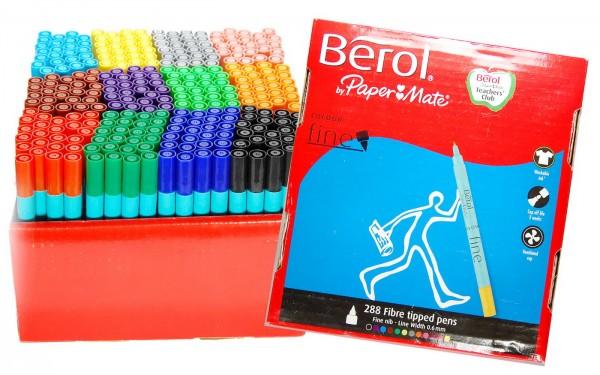 Berol Filzstifte Colour Fine - Karton mit 288 Stück in 12 Farben