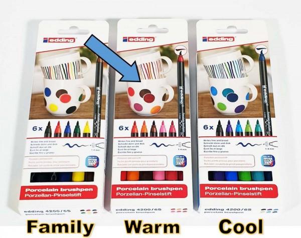 Porzellan Pinselstift Edding 4200, 6er-SET, Spitze 1-4 mm