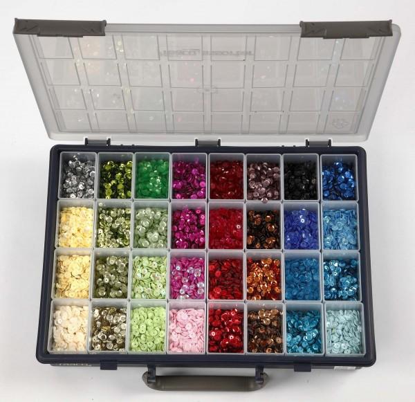 Pailletten-Sortiment im Sortierkasten, Durchmesser 6 mm, 32 Farben zu je 25 g