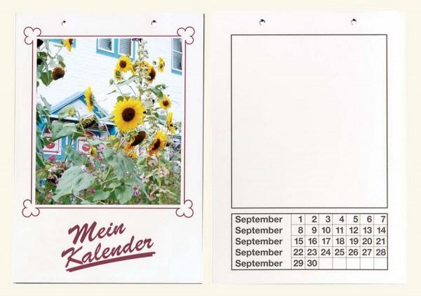 Bastel-Dauerkalender mit Lochung, Format DIN A4, Papier weiß, Druck schwarz