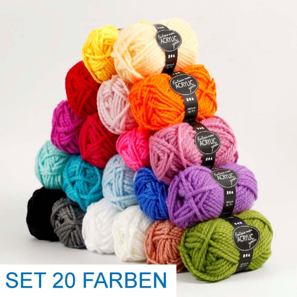 Acryl Wolle Maxi SET, 50 g, 2-fädig, 35 Laufmeter pro Knäuel, alle 20 Farben