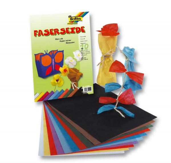 Strohseide / Faserseide SET 10 Bögen in 10 verschiedenen Farben