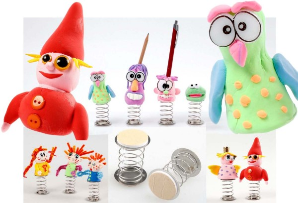 Springfeder mit Klebepads zum Aufkleben kleiner Figuren, Durchmesser 3 cm, Höhe 5,5 cm, 20 Stück