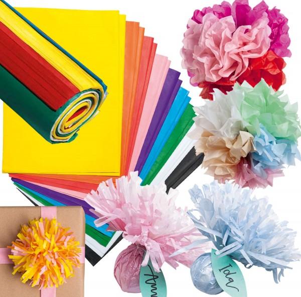 Seidenpapier/Blumenseide SET gefalzt, 20 Farben zu je 26 Bogen, je 50 x 70 cm