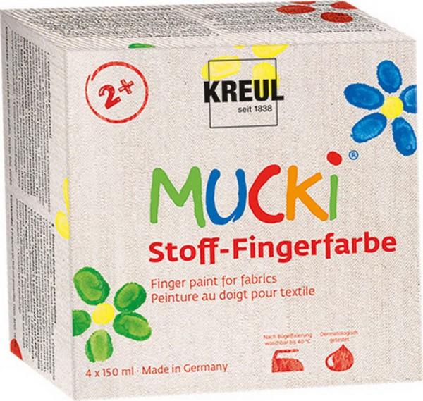 Mucki Stoff-Fingerfarben SET von Kreul, 4 x 150 ml Dose in Rot, Gelb, Blau, Grün