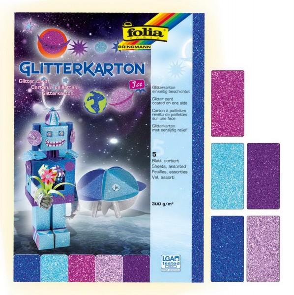 Glitterkarton einseitig bedruckt, 300 g, 5 Bogen je 50 x 70 cm, Motiv Ice