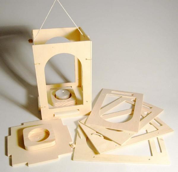 Holzlaterne-Bausatz quadratisch, 12 x 12 x 19 cm