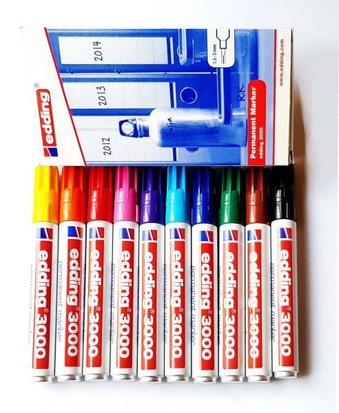 Edding 3000 permanent Marker-SET, Strichstärke 1,5-3 mm, 10 Stück in 10 Farben