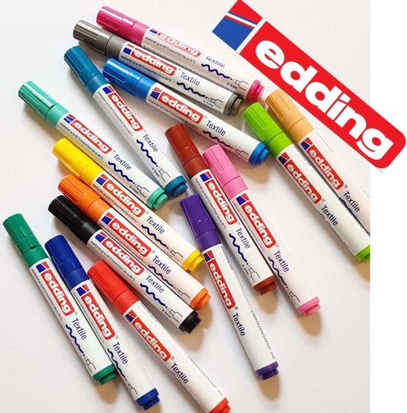 Edding Stoffmalstift SET mit Rundspitze 2-3 mm, 16 Stück in 16 Farben