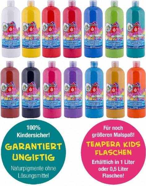 """JOLLY SUPER TEMPERA FLÜSSIGFARBE """"KIDS MIX"""" SET mit allen 14 Farben, 1 Liter Flasche"""