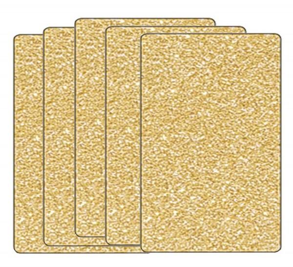 Glitterkarton einseitig bedruckt, 300 g, 5 Bogen je 50 x 70 cm, Motiv Gold