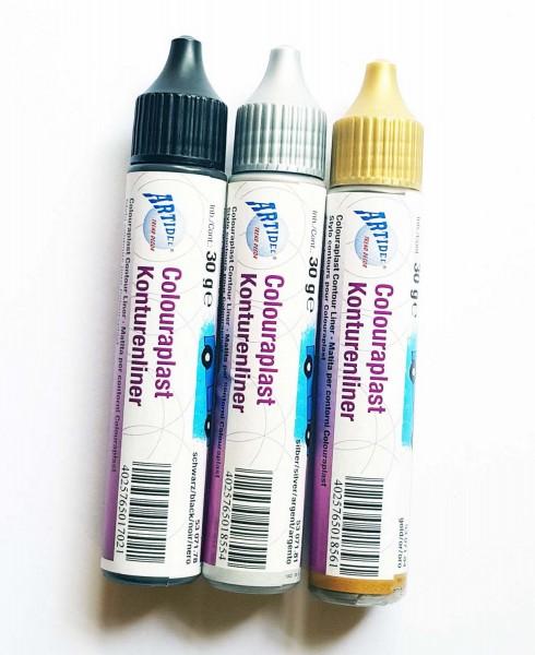 Konturenliner für Colouraplast, 3 verschiedene Farben