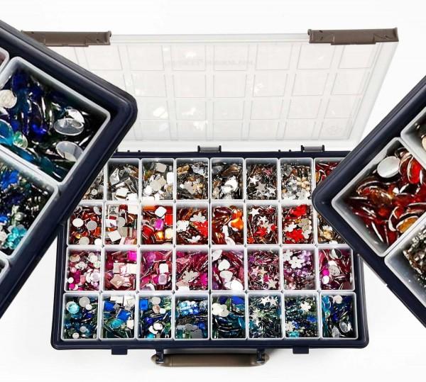 Strass-Steine Sortiment in der Box, Durchmesser 6-16 mm, 32 x 360 Stück farbig sortiert