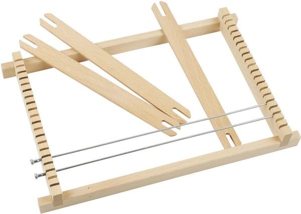 Webrahmen aus Holz, 27 cm Webbreite, 19 x 29 cm, 3 Holzschiffchen, 2 Metalldrähte