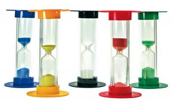 Sanduhren-Set Klein, Höhe 9 cm, 5 Stück: je 1 mal für 30 Sekunden, 1, 3, 5 und 10 Minuten