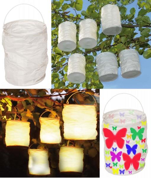 Papierlaterne weiß, Durchmesser 10 cm, Höhe 16 cm, Packung mit 6 Stück