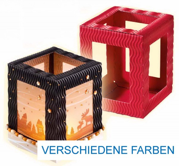 Mini-Laternenrohling aus 3D-Welle, 10 cm x 10 cm x 12 cm, 5 Stück einer Farbe