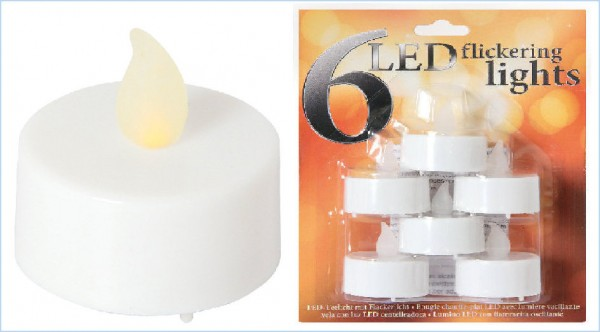 LED-Teelicht weiß inkl. Batterie, 6er Set