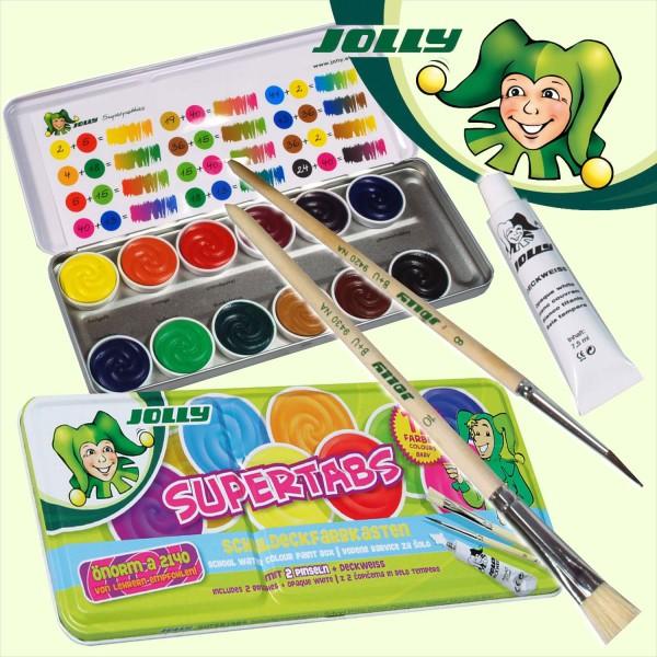 Wasserfarben-Malkasten von Jolly, 12er Metalletui, 1 Tube Deckweiß, 2 Pinsel
