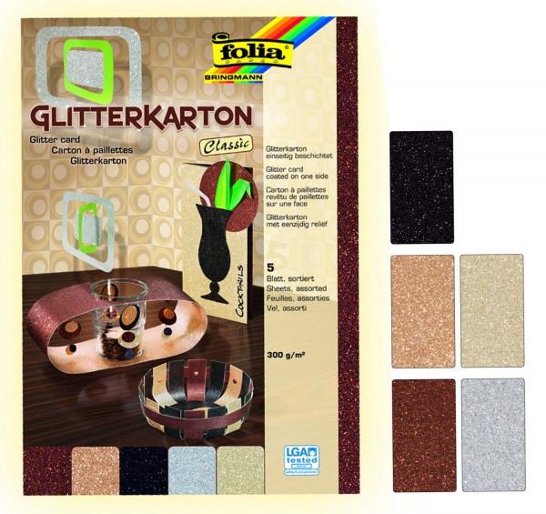 Glitterkarton einseitig bedruckt, 300 g, 5 Bogen je 50 x 70 cm, Motiv Classic