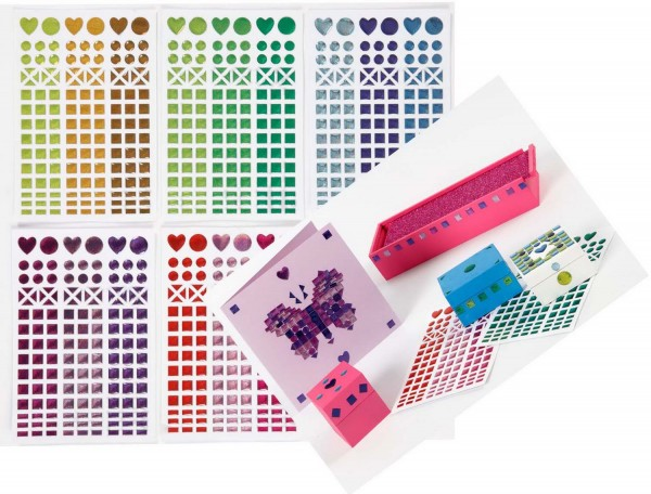 Mosaiksticker selbstklebend, Durchmesser 8-14 mm, 10 Bögen Format 11 x 16,5 cm
