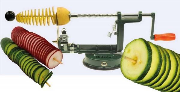 Chipsmaschine – Gemüse spiralförmig schneiden