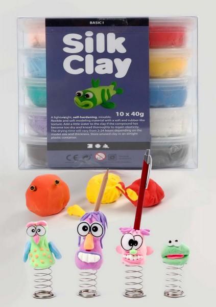 Silk Clay Knetmasse, 10 x 40 g in den 10 Basisfarben