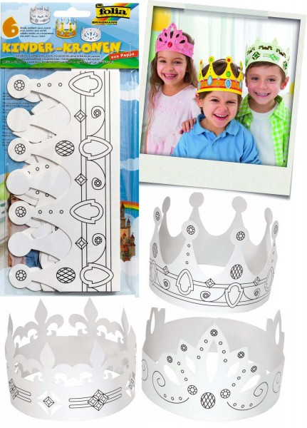 Kinderkronen aus weißer Pappe, 2 x 3 verschiedene Modelle
