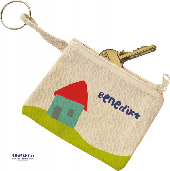 Schlüsselmäppchen mit Ring, Baumwolle natur, 10 x 8 cm, Preis pro Stück