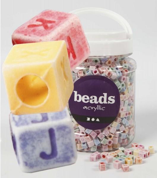 ABC-Kunststoffperlenmix in Würfelform: Pastellfarben