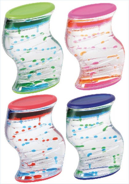 Liquid Motion Bubbler geschwungen, vier Farben sortiert